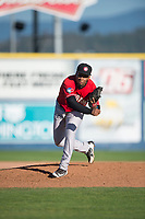 Vancouver Canadians relief pitcher Orlando Pascual (21) follows through on his delivery during a Northwest League game against the Spokane Indians at Avista Stadium on September 2, 2018 in Spokane, Washington. The Spokane Indians defeated the Vancouver Canadians by a score of 3-1. (Zachary Lucy/Four Seam Images)
