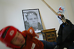 """Derek Goss <cq> is attacked by his puppet called Scooch worn by Carey Wilson <cq>, from Orange City, on Friday, February 15, 2008, during the filming of episode 72 of the Derek Goss Show in DeBary. Goss said that Scooch is a """"Cuban/Puerto Rican puppet."""" Derek Goss <cq>, is a web designer who was born with Thrombocytopenia Absent Radii, also called TAR syndrome. It's a birth defect in which his hands are at his shoulders and he never had the lower part of his legs, so he walks on his knees. He exploits his condition by performing crazy gross-out stunts in a series of crazy gross-out stunts that he posts to YouTube for his show the Derek Goss Show. He's been doing the show for one year and almost five months. (Daytona Beach News-Journal, Chad Pilster)"""