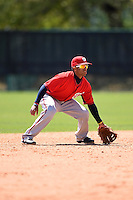 Washington Nationals infielder Willie Medina (17) during a minor league spring training game against the Atlanta Braves on March 26, 2014 at Wide World of Sports in Orlando, Florida.  (Mike Janes/Four Seam Images)