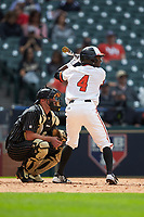 Darien Simms (4) of the Sam Houston State Bearkats at bat against the Vanderbilt Commodores in game one of the 2018 Shriners Hospitals for Children College Classic at Minute Maid Park on March 2, 2018 in Houston, Texas. The Bearkats walked-off the Commodores 7-6 in 10 innings.   (Brian Westerholt/Four Seam Images)