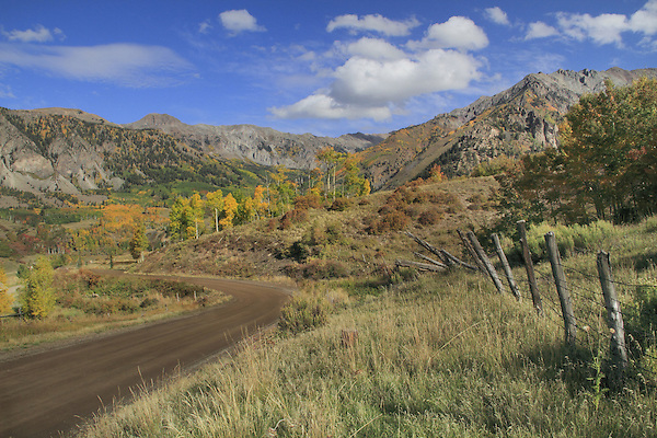 Dirt road in the San Juan Mountains, autumn, Colorado.