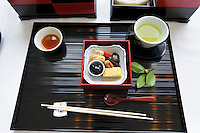 Naoshima Island, Chi Chu Art Museum, bento box lunch in restaurant.