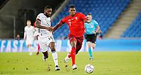 6th August 2020, Basel, Switzerland. UEFA National League football, Switzerland versus Germany;  Antonio Rudiger ger challenges Breel Embolo sui