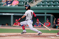 Right fielder Miguel Aparicio (8) of the Hickory Crawdads in a game against the Greenville Drive on Friday, June 18, 2021, at Fluor Field at the West End in Greenville, South Carolina. (Tom Priddy/Four Seam Images)
