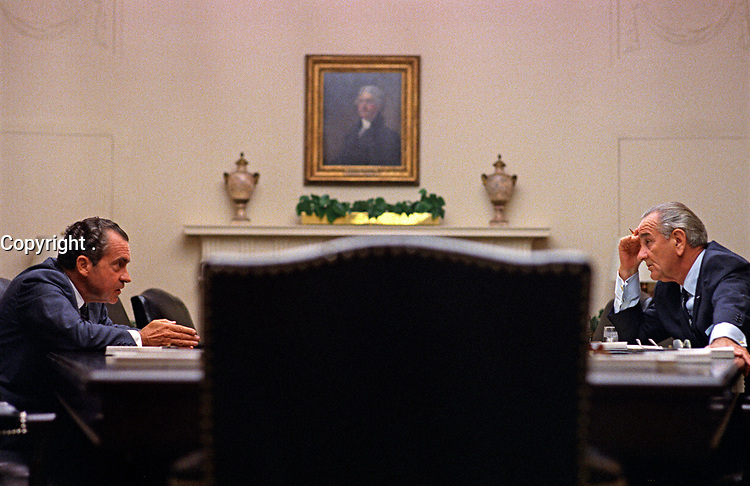 Nixon and Johnson meet at the White House before Nixon's nomination, July 1968