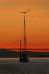 The sunrises over the Sausalito harbor in the San Francisco Bay, California.