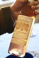 Bottle of rose wine 2005 in a hand Chateau Vannieres (Vannières) La Cadiere (Cadière) d'Azur Bandol Var Cote d'Azur France
