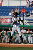 West Virginia Black Bears Blake Sabol (24) at bat during a NY-Penn League game against the Batavia Muckdogs on June 26, 2019 at Dwyer Stadium in Batavia, New York.  Batavia defeated West Virginia 4-2.  (Mike Janes/Four Seam Images)