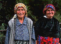 Two women portraits in colorful clothes in Albania near Tirana