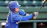 Weston Jackson of the Presbyterian Blue Hose gets a hit in a game against Wofford on Wednesday, March 19, 2014, at Fluor Field at the West End in Greenville, South Carolina. (Tom Priddy/Four Seam Images)