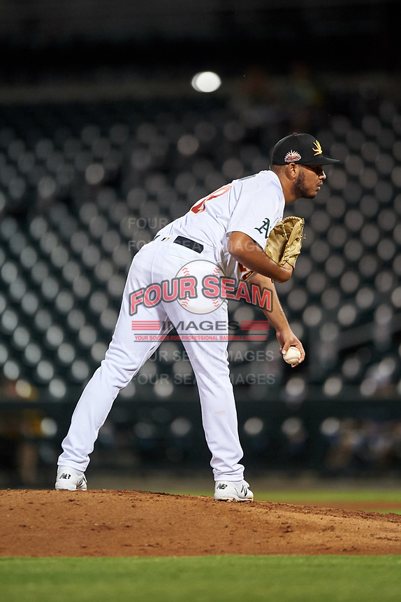 Mesa Solar Sox relief pitcher Jhenderson Hurtado (28), of the Oakland Athletics organization, during an Arizona Fall League game against the Scottsdale Scorpions on September 18, 2019 at Sloan Park in Mesa, Arizona. Scottsdale defeated Mesa 5-4. (Zachary Lucy/Four Seam Images)