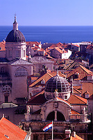 Croatia. Dubrovnik. Terracota roof tiles of the old city, The Cathedral, and St Blaise Church