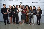 Graduating students left to right, Jinwoo Hong, Carolina Sanz, Jin Young Kim, Yekaterina Burmatnova, Aleksandra Gosiewski, Taylor Ormond, Bria Hendrickson, Selen Sahin, Jongah Lee and Samantha Kirshner pose with their Critic awards during the Future of Fashion 2017 runway show at the Fashion Institute of Technology on May 8, 2017.
