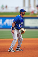 Biloxi Shuckers third baseman Taylor Green (5) during the first game of a double header against the Pensacola Blue Wahoos on April 26, 2015 at Pensacola Bayfront Stadium in Pensacola, Florida.  Biloxi defeated Pensacola 2-1.  (Mike Janes/Four Seam Images)
