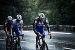 The peloton led by Tim Declercq (BEL) Deceuninck-Quick Step as the rain falls during Stage 3 of Tour de France 2020, running 198km from Nice to Sisteron, France. 31st August 2020.<br /> Picture: ASO/Pauline Ballet | Cyclefile<br /> All photos usage must carry mandatory copyright credit (© Cyclefile | ASO/Pauline Ballet)