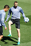 Real Madrid's Raphael Varane (l) and Karim Benzema during training session. May 1,2017.(ALTERPHOTOS/Acero)
