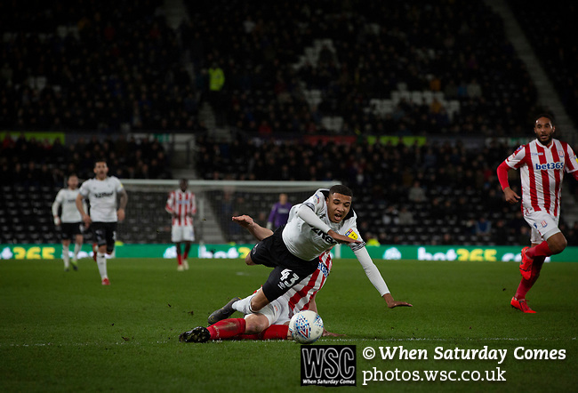 Home substitute Jayden Mitchell-Lawson is brought down during the second-half action as Derby County (in white) played Stoke City in an EFL Championship match at Pride Park Stadium. Opened in 1997, it is the 16th-largest football ground in England and the 20th-largest stadium in the United Kingdom. The fixture ended in a 0-0 draw watched by a crowd of 25,685.