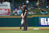 Umpire Darius Ghani during a Texas League game between the Amarillo Sod Poodles and Frisco RoughRiders on May 16, 2019 at Dr Pepper Ballpark in Frisco, Texas.  (Mike Augustin/Four Seam Images)