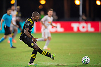 LAKE BUENA VISTA, FL - JULY 16: Darlington Nagbe #6 of the Columbus Crew SC passes the ball during a game between New York Red Bulls and Columbus Crew at Wide World of Sports on July 16, 2020 in Lake Buena Vista, Florida.