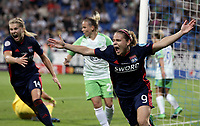 Football, Uefa Women's Champions League Final, VfL Wolfsburg - Olympique Lyonnais, Valeriy Lobanovskyi Stadium in Kiev on May 24, 2018.<br /> Olympique Lyonnais' Eugénie Le Sommer celebrates after scoring during the Uefa Women's Champions League Final between  VfL Wolfsburg and Olympique Lyonnais, at the Valeriy Lobanovskyi Stadium in Kiev, on May 24, 2018.<br /> UPDATE IMAGES PRESS/Isabella Bonotto
