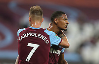 West Ham United's Sebastien Haller celebrates scoring his side's first goal with Andriy Yarmolenko<br /> <br /> Photographer Rob Newell/CameraSport<br /> <br /> Carabao Cup Second Round Northern Section - West Ham United v Charlton Athletic - Tuesday 15th September 2020 - London Stadium - London <br />  <br /> World Copyright © 2020 CameraSport. All rights reserved. 43 Linden Ave. Countesthorpe. Leicester. England. LE8 5PG - Tel: +44 (0) 116 277 4147 - admin@camerasport.com - www.camerasport.com