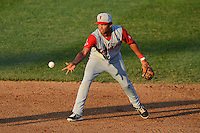 Lowell Spinners second baseman Cleuluis Rondon (5) flips the ball to second during a game against the Tri-City ValleyCats on July 6, 2013 at Joseph L. Bruno Stadium in Troy, New York.  Lowell defeated Tri-City 4-3.  (Mike Janes/Four Seam Images)