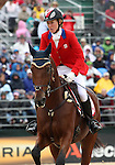 Selena O'Hanlon and Colombo of Canada compete in the final stadium jumping round of the FEI  World Eventing Championship at the Alltech World Equestrian Games in Lexington, Kentucky.
