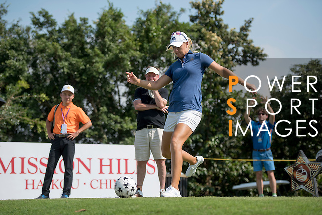 Anna Nordqvist kicks a football at the 14th hole during the World Celebrity Pro-Am 2016 Mission Hills China Golf Tournament on 22 October 2016, in Haikou, China. Photo by Weixiang Lim / Power Sport Images