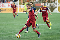 FOXBOROUGH, MA - SEPTEMBER 21: Brooks Lennon #12 of Real Salt Lake traps the ball during a game between Real Salt Lake and New England Revolution at Gillette Stadium on September 21, 2019 in Foxborough, Massachusetts.