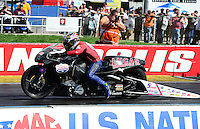 Sept 9, 2012; Clermont, IN, USA: NHRA pro stock motorcycle rider Hector Arana Sr during the US Nationals at Lucas Oil Raceway. Mandatory Credit: Mark J. Rebilas-