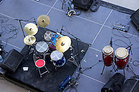 Drums, percussion and monitors on stage