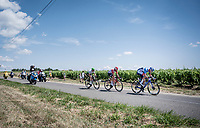 breakaway group with Thomas de Gendt (BEL/Lotto-Soudal), Ben King (USA/Dimension Data) & Niki Terpstra (NED/Total - Direct Energie).  Alessandro De Marchi (ITA/CCC) is about to catch on and join them.<br /> <br /> Stage 8: Mâcon to Saint-Étienne (200km)<br /> 106th Tour de France 2019 (2.UWT)<br /> <br /> ©kramon