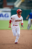 Memphis Redbirds second baseman Bruce Caldwell running the bases during a game against the Iowa Cubs on May 29, 2017 at AutoZone Park in Memphis, Tennessee.  Memphis defeated Iowa 6-5.  (Mike Janes/Four Seam Images)