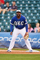 Oklahoma City Dodgers first baseman O'Koyea Dickson (23) during a game against the Fresno Grizzles on June 1, 2015 at Chickasaw Bricktown Ballpark in Oklahoma City, Oklahoma.  Fresno defeated Oklahoma City 14-1.  (Mike Janes/Four Seam Images)