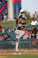 Ronald Guzman (31) of the High Desert Mavericks reaches for a throw during a game against the Lancaster JetHawks at The Hanger on May 19, 2015 in Lancaster, California. Lancaster defeated High Desert, 8-7. (Larry Goren/Four Seam Images)
