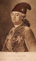 French Revolution:  Louis XVI. Portrait reworked, 1792, Anonymous. Added phrygian cap of liberty. Title changed to King of the French.  Reference only.