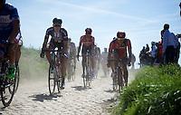 Jempy Drucker (LUX/BMC) riding next to Koen de Kort (NLD/Giant-Alpecin) over the cobbles of sector 23: Vertain to Saint-Martin-sur-Écaillon (2.3km)<br /> <br /> 113th Paris-Roubaix 2015