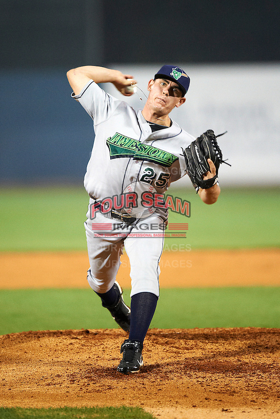 Jamestown Jammers pitcher Nick Wittgren #25 during the NY-Penn League All-Star Game at Eastwood Field on August 14, 2012 in Niles, Ohio.  National League defeated the American League 8-1.  (Mike Janes/Four Seam Images)