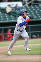 Hunter Hargrove (19) of the Stockton Ports runs to first base during a game against the Inland Empire 66ers at San Manuel Stadium on May 26, 2019 in San Bernardino, California. (Larry Goren/Four Seam Images)