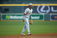 Texas Longhorns shortstop Trey Faltine (0) on defense against the LSU Tigers in game three of the 2020 Shriners Hospitals for Children College Classic at Minute Maid Park on February 28, 2020 in Houston, Texas. The Tigers defeated the Longhorns 4-3. (Brian Westerholt/Four Seam Images)