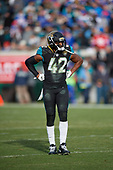 Jacksonville Jaguars Barry Church (42) during an NFL Wild-Card football game against the Buffalo Bills, Sunday, January 7, 2018, in Jacksonville, Fla.  (Mike Janes Photography)