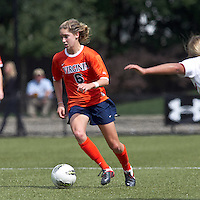 University of Virginia midfielder Morgan Brian (6) brings the ball forward. Boston College defeated University of Virginia, 2-0, at the Newton Soccer Field, on September 18, 2011.