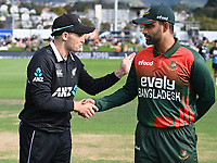 20th March 2021; Dunedin, New Zealand;  Captains Tom Latham and Tamim Iqbal.<br />