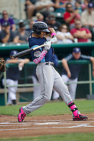 Corpus Christi Hooks shortstop Carlos Correa (1) checks his swing during the Texas League baseball game against the San Antonio Missions on May 10, 2015 at Nelson Wolff Stadium in San Antonio, Texas. The Missions defeated the Hooks 6-5. (Andrew Woolley/Four Seam Images)