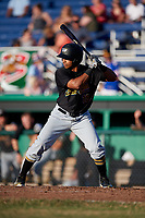West Virginia Black Bears left fielder Edison Lantigua (18) at bat during a game against the Batavia Muckdogs on July 3, 2018 at Dwyer Stadium in Batavia, New York.  Batavia defeated West Virginia 5-4.  (Mike Janes/Four Seam Images)
