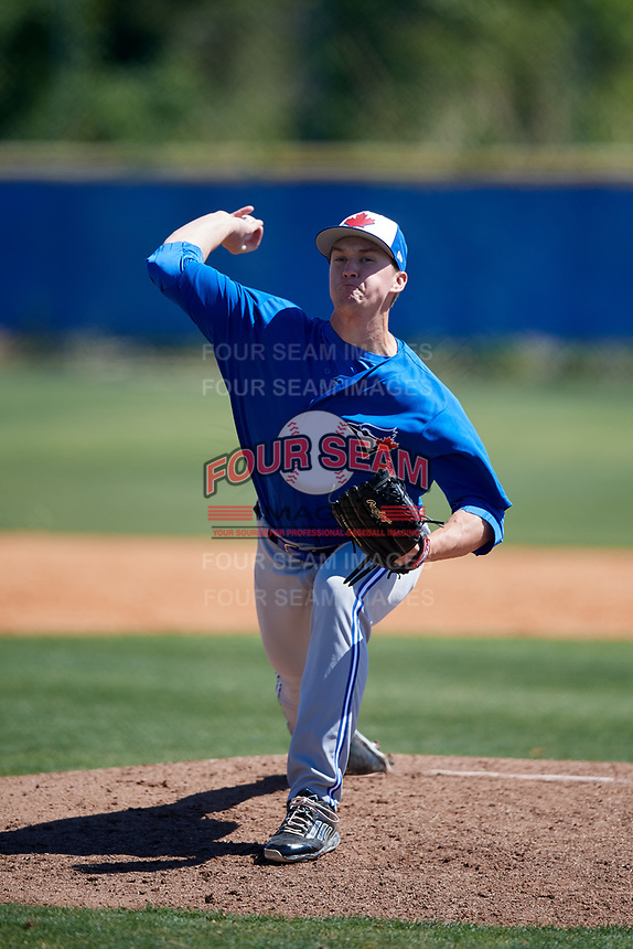 Toronto Blue Jays pitcher Connor Law (31) during a Minor League Spring Training Intrasquad game on March 14, 2018 at Englebert Complex in Dunedin, Florida.  (Mike Janes/Four Seam Images)