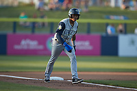 Herard Gonzalez (1) of the Columbia Fireflies takes his lead off of third base against the Kannapolis Cannon Ballers at Atrium Health Ballpark on May 20, 2021 in Kannapolis, North Carolina. (Brian Westerholt/Four Seam Images)