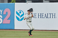 Greensboro Grasshoppers center fielder Matt Gorski (36) catches a fly ball during the game against the Rome Braves at First National Bank Field on May 16, 2021 in Greensboro, North Carolina. (Brian Westerholt/Four Seam Images)