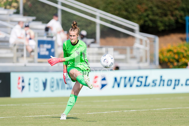 CARY, NC - SEPTEMBER 12: Bella Bixby #31 of the Portland Thorns distributes the ball during a game between Portland Thorns FC and North Carolina Courage at WakeMed Soccer Park on September 12, 2021 in Cary, North Carolina.