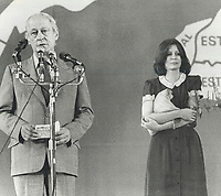 1980 FILE PHOTO - ARCHIVES -<br /> <br /> The agony of defeat: Quebec Premier Rene Levesque, his wife Corinne at his side, delivers a tearful speech to a crowd of 6,000 suppoters at Montreal's Paul Sauve arena.<br /> <br /> 1980<br /> <br /> PHOTO : Boris Spremo - Toronto Star Archives - AQP